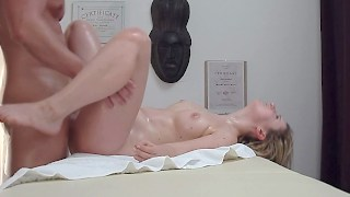 This curvy blonde gets her tits and muffin massaged erotically