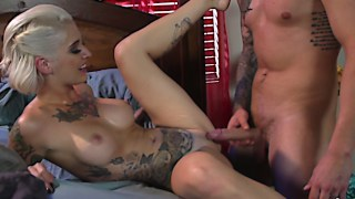 Sexy tattooed blonde POV fucking and facial
