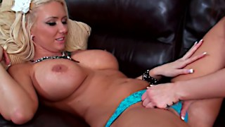 Hot and juicy lesbian action with a blonde and brunette