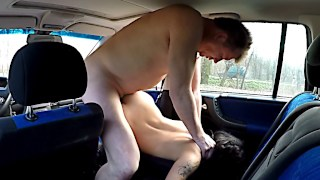 Call girls fuck sexy man in a car packed full of hidden cameras
