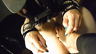 Blonde handcuffed kitty gets fingered and strewn with jizz