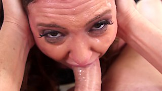 Brunette Maddy O'Reilly deepthroating the huge tool