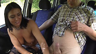 Big tits Czech prostitute fucking in car