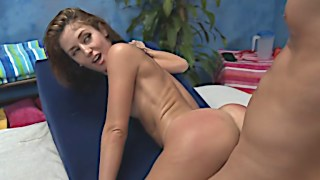 Cute Sheena gets banged on the massage table