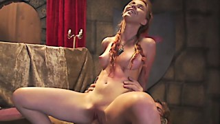 Natural tits redhead plays a game of knobs