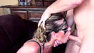 Anal loving MILF gagging on paramour's hard pecker