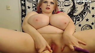 Chubby blonde with huge boobs masturbates for the can